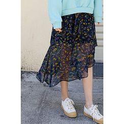 CHERRYKOKO - Diagonal Ruffle-Hem Floral Chiffon Skirt