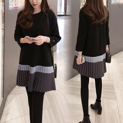 Fancy Show - Long-Sleeve Pleated Hem Dress