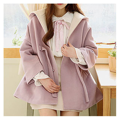 Sechuna - Hooded Drop-Shoulder Beribboned Coat