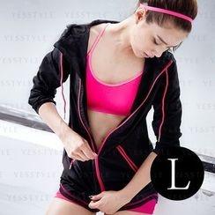 V.VIENNA - Girl's Light Anti-UV Air Sport Jacket (Black) (L)