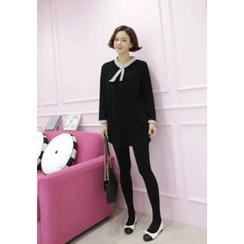 Lemite - Tie-Neck Stripe-Trim Mini Shift Dress