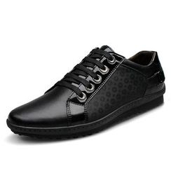 EnllerviiD - Genuine-Leather Panel Casual Shoes
