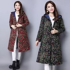Diosa - Floral Print Hooded Long Coat