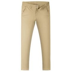 Ohkkage - Flat-Front Colored Pants