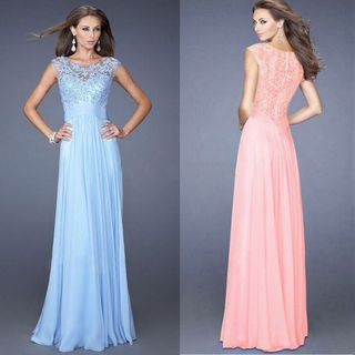 Katemi - Sleeveless Lace Panel Sheath Evening Gown