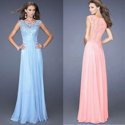 Katemi - Sleeveless Lace Panel Sheath Evening Gown