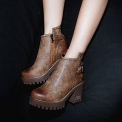 JY Shoes - Buckled Block Heel Ankle Boots