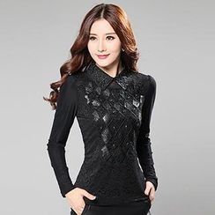 Lovebirds - Faux Leather-Applique Lace Top