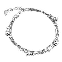 Kitty Kiss - 925 Sterling Silver Beaded Layered Bracelet