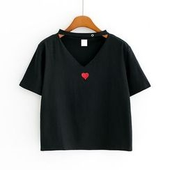 Sunny Day - Embroidered Cutout Cropped Short-Sleeve T-Shirt