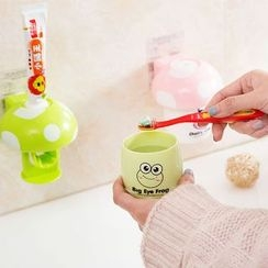 Home Simply - Set: Cartoon Toothpaste Dispenser + Toothbrush Cup