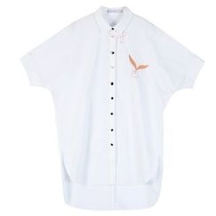 Sentubila - Embroidered Short-Sleeve Long Shirt