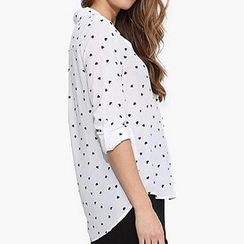 Richcoco - Heart Print Tab-Sleeve Shirt