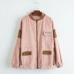 TOJI - Contrast-Trim Corduroy Zip Jacket