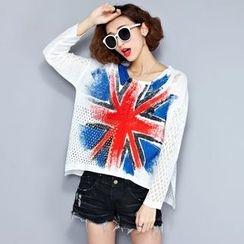 Lina Love - Union Jack Print Open-Knit Top