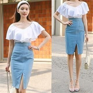 St. Mary - High-Waist Cutout-Front Pencil Skirt