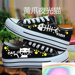 HVBAO - Painted Cat & Fish Canvas Sneakers