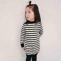 Happy Lala - Kids Long-Sleeve Striped Knit Dress