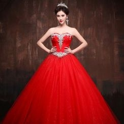 Coeur Wedding - Embellished Strapless Ball Gown