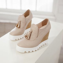 JY Shoes - Tasseled Platform Wedge Loafers
