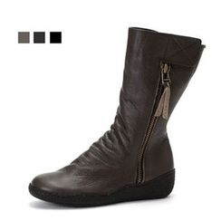 MODELSIS - Zip-Detail Genuine Leather Boots