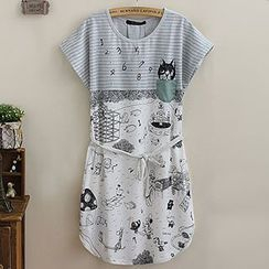 Angel Love - Cartoon Print Short-Sleeve Dress with Sash