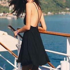 LIVA GIRL - Cross Strap Back A-Line Dress