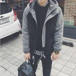 Bestrooy - Hooded Color Block Woolen Jacket