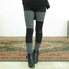 GLAM12 - Houndstooth Panel Trim Leggings