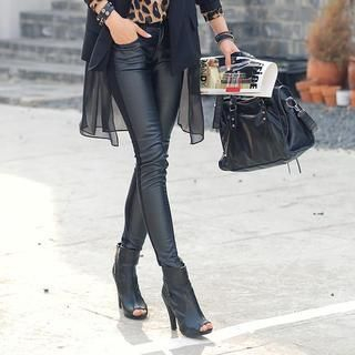 REDOPIN - Faux Leather Front Skinny Pants