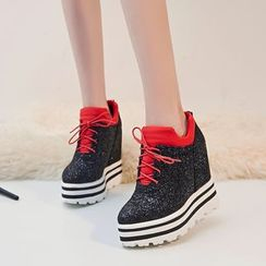 JY Shoes - Glitter Platform Wedge Sneakers