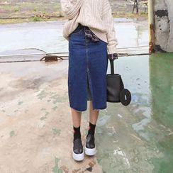 PPGIRL - Slit-Front Denim Midi Skirt