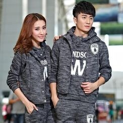 Lovebirds - Set: Couple Printed Sweatshirt + Vest + Pants