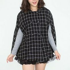 59 Seconds - Double-Breasted Check Hooded Cape
