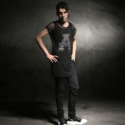 Simsam - 套装: 网纱T恤 + 背心