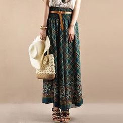 Yammi - Two-way Pattern Chiffon Maxi Skirt