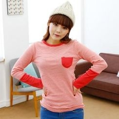 Cocopop - Contrast-Trim Striped T-Shirt