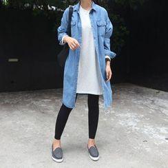 STYLEBYYAM - Dual-Pocket Denim Long Shirt