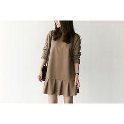 UPTOWNHOLIC - Zip-Back Ruffle-Hem Dress