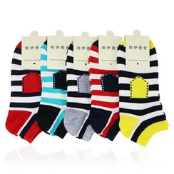 MUMBLE - 五双装: 条纹短袜