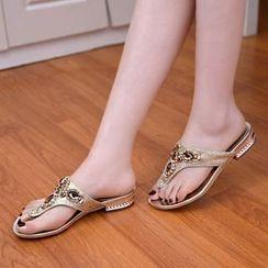 Shoes Galore - Rhinestone Flip Flops