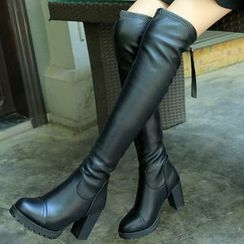 Yoflap - Chunky Heel Over-the-Knee Boots