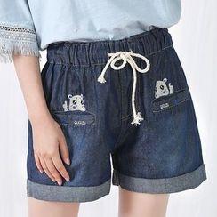 Fairyland - Embroidered Denim Shorts