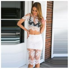 Hotprint - Set: Cropped Lace Top + Skirt