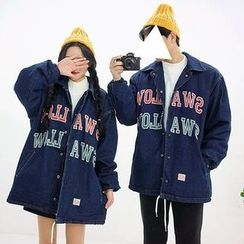 Seoul Homme - Couple Letter Patch Fleece Lined Denim Jacket