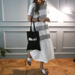 NANING9 - Short-Sleeve Stripe Maxi T-Shirt Dress