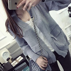 FR - Open-Front Knit Cardigan