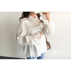 UPTOWNHOLIC - Mock-Neck Frilled-Trim Top