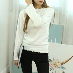 Dodostyle - Round-Neck Ribbed Knit Top