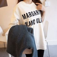 Seoul Fashion - Elbow-Sleeve Letter Print T-Shirt